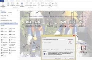 Man kann ein pdf an ein (Visio-)Dokument anhängen.